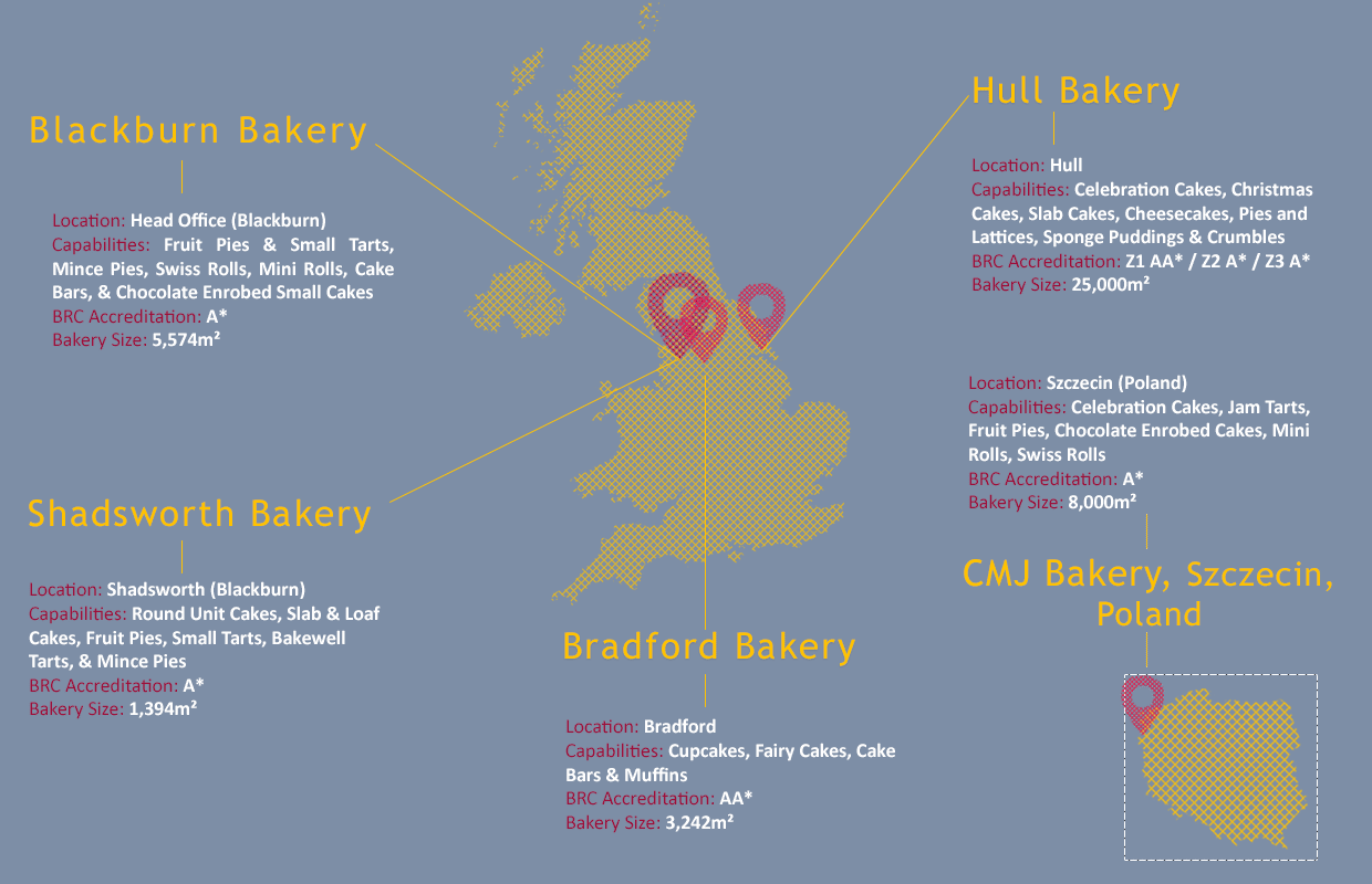 Map of BBF's 5 bakeries