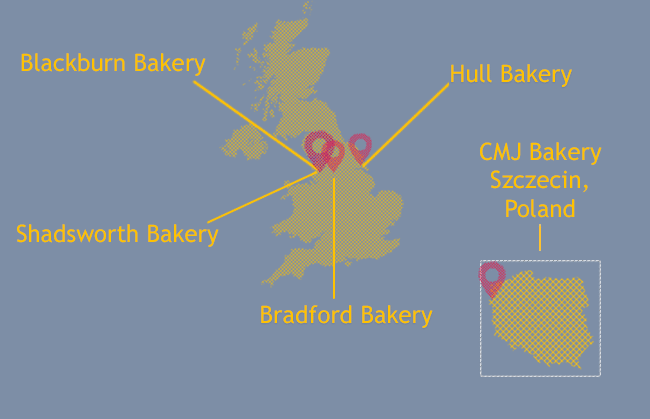BBF Locations - Blackburn, Bradford, Hull and Poland