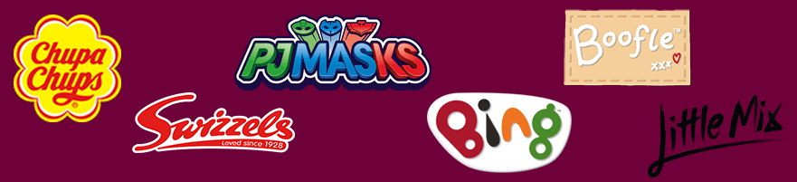 Chupa Chups, Bing, Little Mix, Swizzels, PJ Masks and Boofle Logo